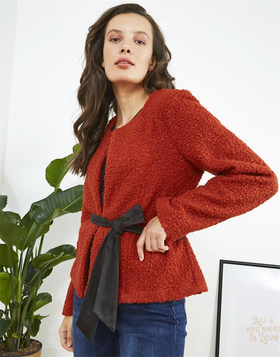 Veste longueur standard en laine bouillie unie