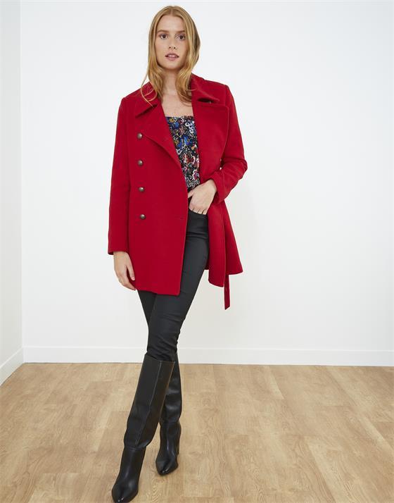 Manteau longueur genoux en aspect lainage uni