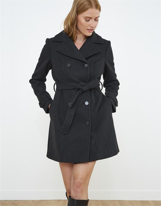 Manteau longueur standard en aspect lainage uni