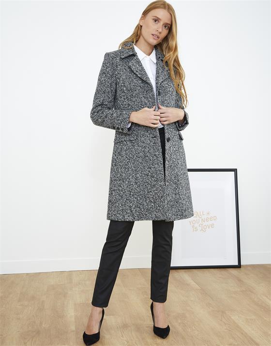 Manteau longueur genoux en aspect lainage chiné
