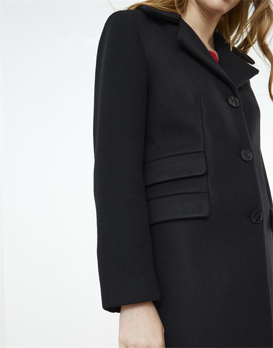 Manteau long en aspect lainage uni