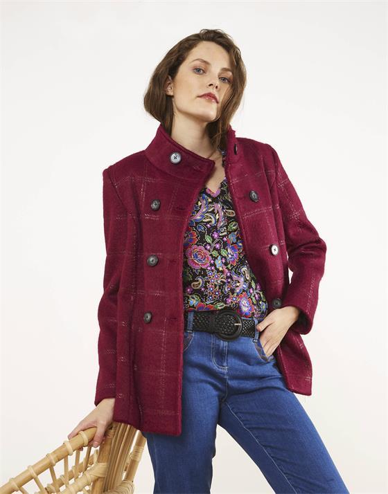 Manteau longueur standard en aspect lainage à carreaux