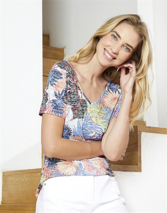 T-Shirt longueur standard  imprimé à fleurs