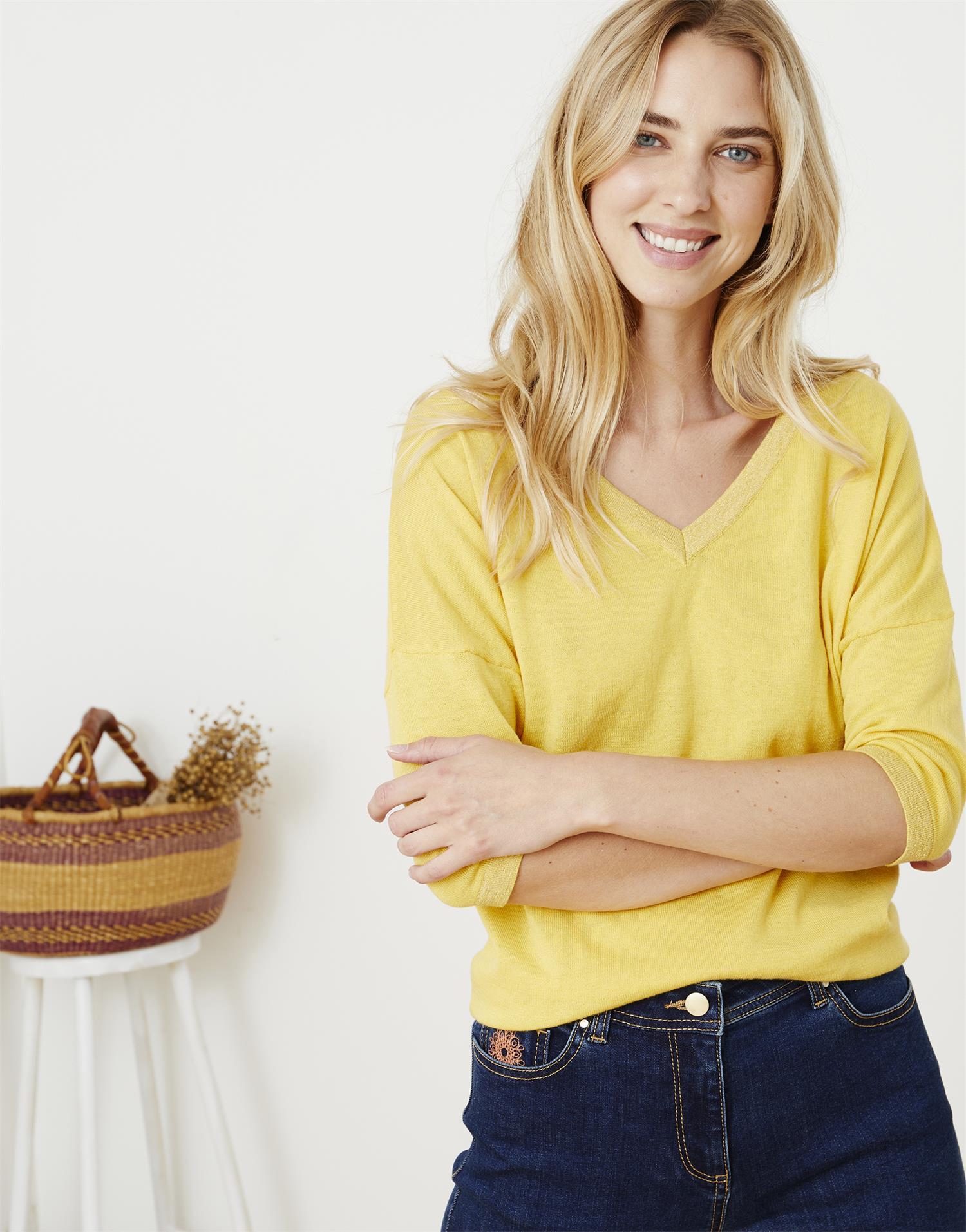 Pull fin longueur standard En Coton bio & Polyester recyclé uni