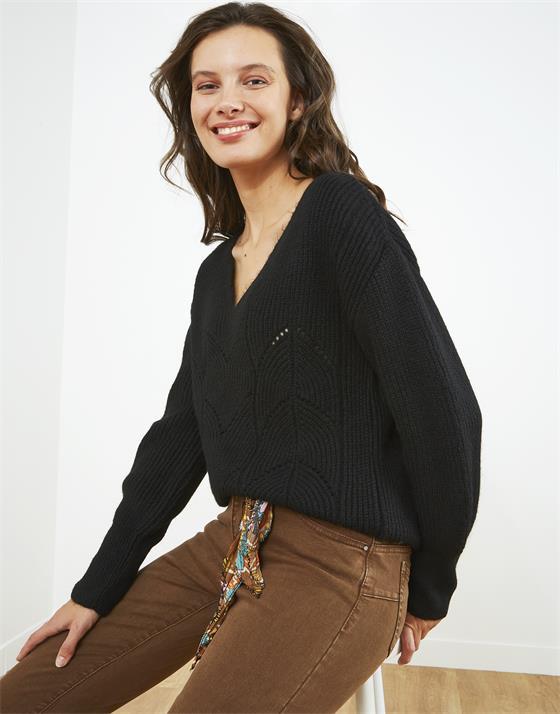 Pull épais longueur standard en tricotage fantaisie uni